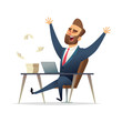 Business character rejoices victory at his desk. Successful Winner Manager Celebrates Victory - 231527967