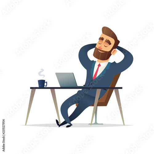 Businessman on his desk relaxing. Manager sit relax and think on his workplace. Cartoon vector illustration.