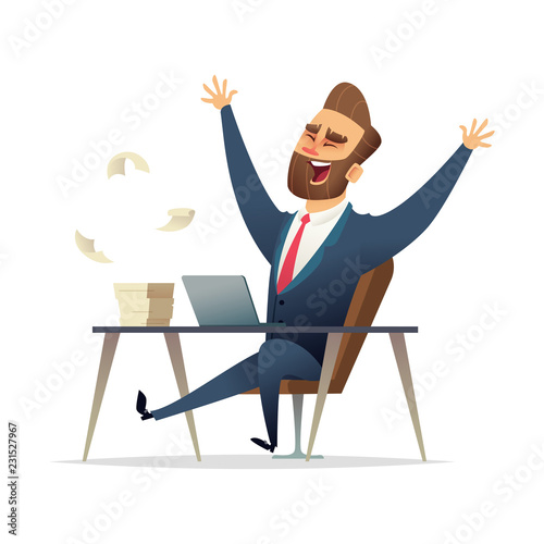 Business character rejoices victory at his desk. Successful Winner Manager Celebrates Victory