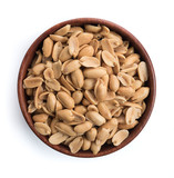 Roasted salted peanuts in wooden bowl on white background,top view - 231530362