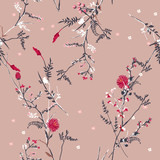 Trendy  Floral pattern in the many kind of flowers. Tropical botanical  Motifs scattered random. Seamless vector texture. For fashion prints - 231530713