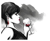woman drinking red wine - 231531748