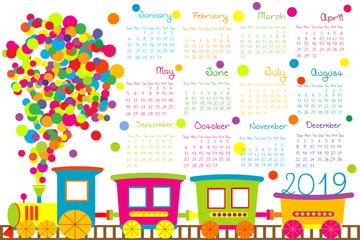 2019 calendar with cartoon train for kid