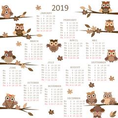 2019 Calendar with owls