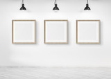 Three squared frames hanging on a wall mockup 3d rendering - 231538735