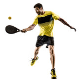 one caucasian man playing Padel tennis player isolated on white background - 231538768