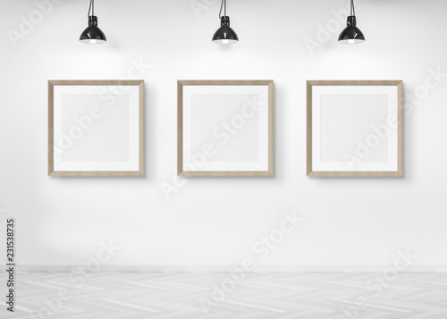 Leinwandbild Motiv Three squared frames hanging on a wall mockup 3d rendering