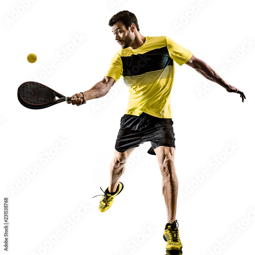 Foto Murales one caucasian man playing Padel tennis player isolated on white background