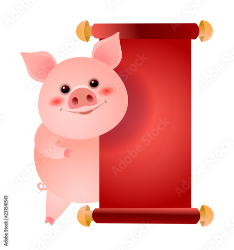 happy pig standing at blank red paper vector illustration message announcement chinese new