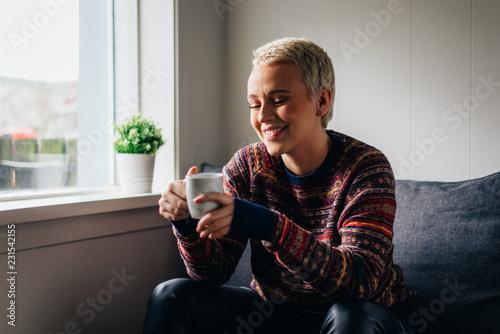 Leinwandbild Motiv Icelandic beautiful woman lifestyle moments in Reykjavik