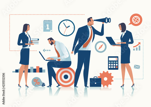Wall mural Office Work. The business team is working in the office. Business concept vector illustration.