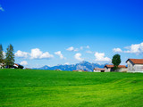 Pasture mountain range and rural houses in Bavaria - 231553376