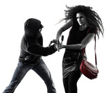 one caucasian woman victim of a thief aggression self defense isolated on white background - 231553553