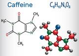 Caffeine molecule. Structural chemical formula and molecule model - 231557374