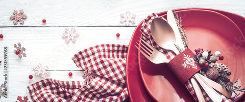 Leinwandbild Motiv Christmas dinner cutlery on a white wooden background