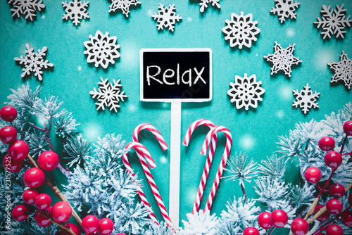 Black Christmas Sign,Lights, Frosty Look, Text Relax - 231577525