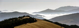 A view from mountains to the valley covered with foggy landscape. Foggy Landscape in mountains. - 231590106