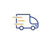 Truck delivery line icon. Express service sign. Transportation symbol. Colorful outline concept. Blue and orange thin line color icon. Truck delivery Vector