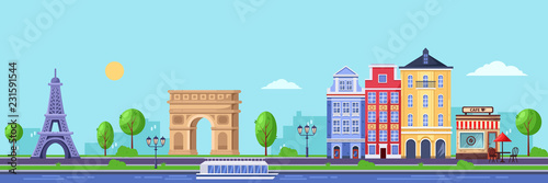 Summer season in Paris. Vector flat illustration of cityscape with Eiffel tower, Triumphal Arch and old buildings. - 231591544