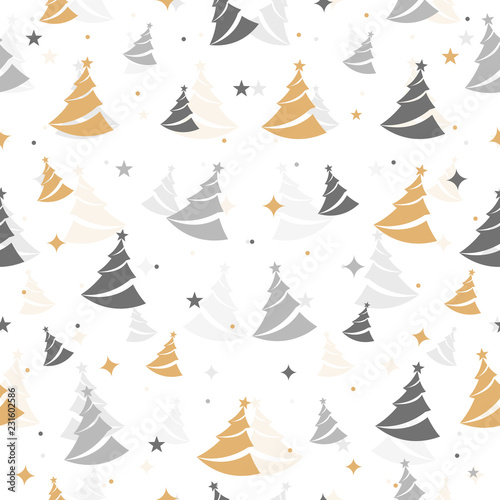 obraz PCV Christmas tree seamless pattern isolated background. Greeting Card, Banner, Vector illustration