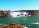 Niagara falls on a day with blue sky - realy natural foto (Canada)