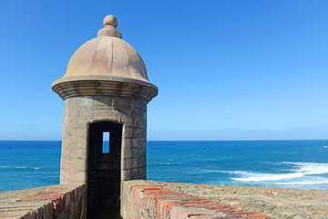 Fortress tower in Old San Juan Puerto Rico