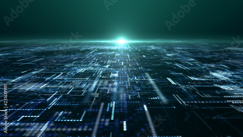 Futuristic digital matrix particles grid virtual reality abstract cyber space environment background