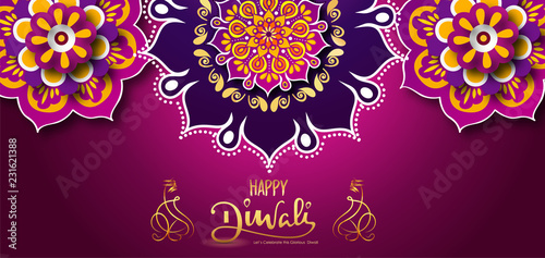 Leinwandbild Motiv Happy diwali banner, poster with mandala and beautiful background with happy diwali calligraphy