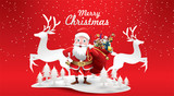 Merry Christmas and Happy New Year.Santa Claus's reindeer with a sack of gifts in Christmas snow scene. vector illustration Greeting card poster horizontal banner paper art concept - 231624546