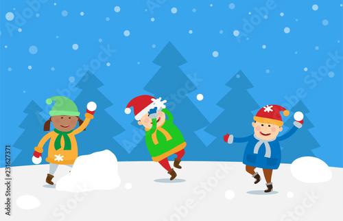 children playing snow balls fighting winter holidays - 231627371