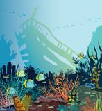 Coral reef, fish, sunken ship. Underwater sea. - 231631375