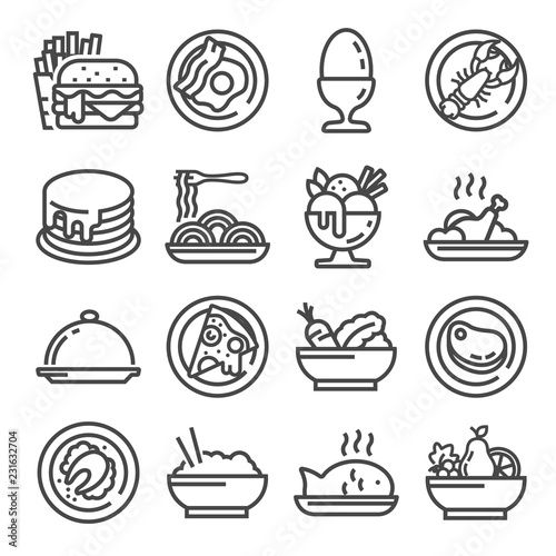 Wall mural Vector Food icon set, gray outline style