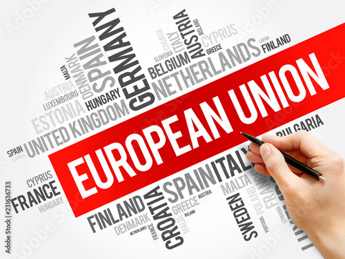 Leinwanddruck Bild European Union List of cities word cloud collage, concept background
