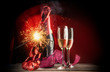 Party or event celebration with champagne and fireworks