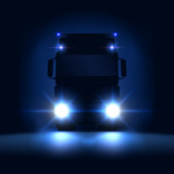 Night silhouette big semi truck with bright headlights and semi riding on the dark night background, front view, vector illustration - 231641720