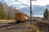Railway, locomotives, cars, autumn Russia