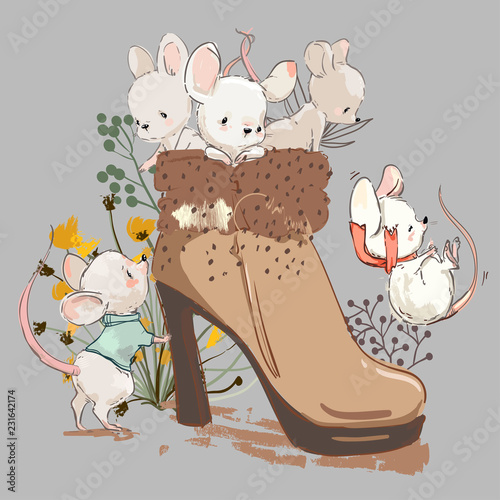 cute mouses in boot - 231642174