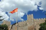 old fortress of tzar Samuel and macedonian flag Ohrid Macedonia - 231645113