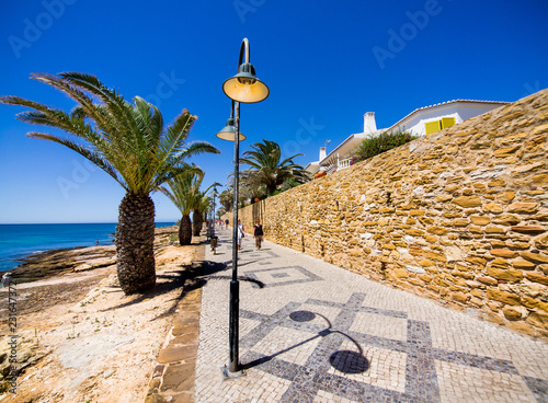 Portuguese road on the beach with palm trees