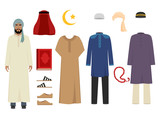 Arabic man clothes. National islamic fashion of male costumes wardrobe items muslim iranian and turkish sultan vector illustrations. Traditional clothing saudi and muslim for man character - 231647734