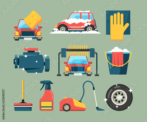 Poster Car wash service. Dirty machines in clean building water bucket wiping sponge vector icons cartoon. Wash car service, clean transport equipment illustration