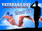 Saluting soldier with a American flag Veterans Day Honoring All who Served, Thank You background design graphic