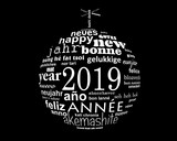 2019 new year multilingual text word cloud  in the shape of a christmas ball - 231657107
