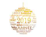 2019 new year multilingual text word cloud  in the shape of a christmas ball - 231657156