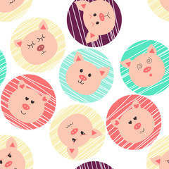 Seamless pattern with pigs. Nine character emotions: happy, sadness, anger, love, surprise. Chinese zodiac sign of pig, Happy New Year2019 of the pig.  © Anastasiia Komarova