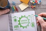 Green energy concept on a notepad - 231659768