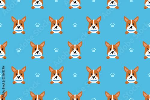 obraz lub plakat Vector cartoon character corgi dog seamless pattern for design.