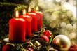 Leinwanddruck Bild - Brennende Kerzen an Weihnachten