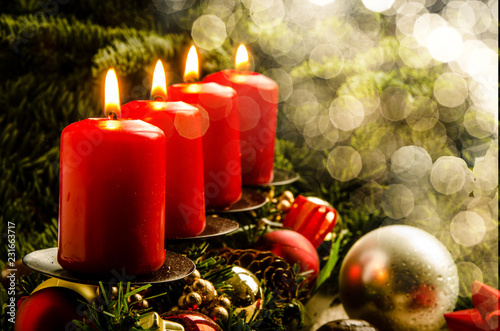Leinwanddruck Bild Brennende Kerzen an Weihnachten