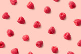 Colorful pattern of raspberries